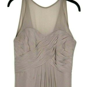 Bill Levkoff Beige Pleated Bridesmaid Party Dress